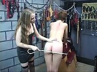 Leather Mistress Lesbian with a cane