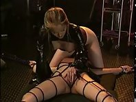 Lesbian Domination - Sexy Asian Tied to floor - Clamped Tits