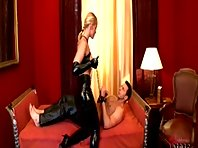 Sexy Domme and bound boy