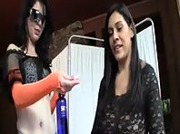Handjob from two brunettes