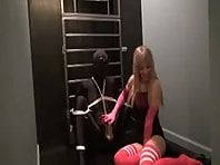 Tied Slave in Closet Getting A Handjob