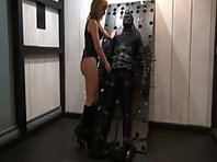 Tease and Denial in heavy leather and restraints