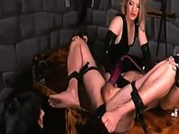 Pervert Dommes Dominate a male slave