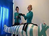 Mistresses teasing their slave
