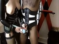 Black Slave with Tied cock and Balls