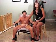 Hot Femdom Handjob in Restraints