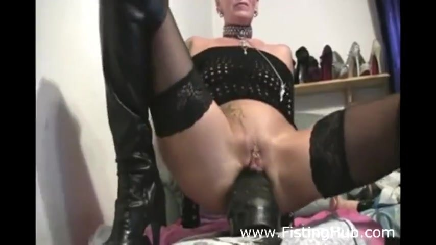 MILF Takes HUGE Black Dildo up her Ass