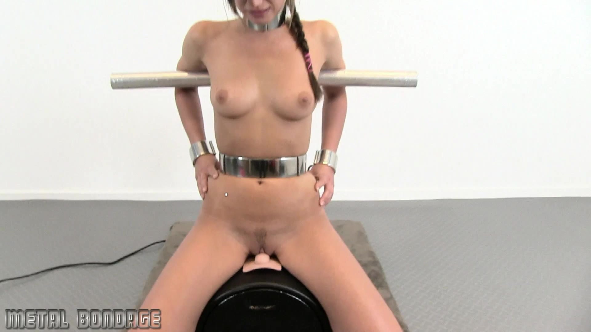 Nice girl candice dare peels off bra panties before planting pussy on sybian