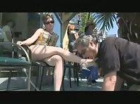 Femdom Humiliation - Public Foot worshipping