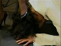 Vintage Femdom Olivia Outre with male slave