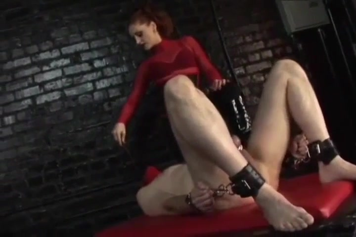 Domme Tortures Cock Balls Chest And Nipples Of Naked Male