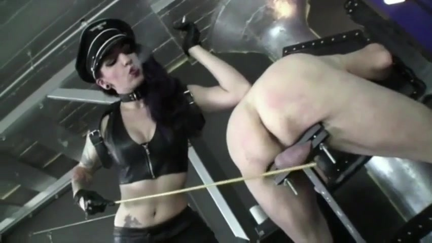 Domme Severely Canes Whips And Marks Naked Male Slave