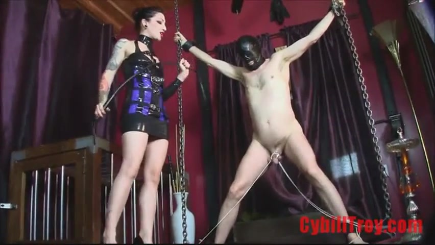 Domme Whips Tied And Displayed penis Of Naked Male