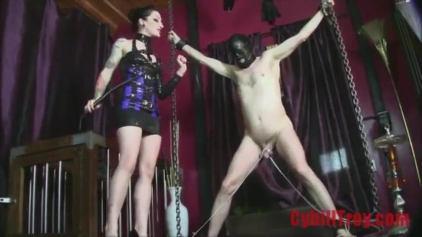 Domme Whips Tied And Displayed rod Of Naked Male Slave