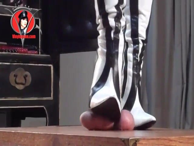 Domme Boots Trample Cock Of Naked Male Slave