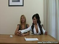 Two kinky MILFs want cum all over their office table