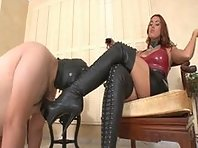 Mistress Megan uses her boot licker