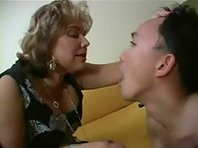 Mature French Mistress humiliates her slave