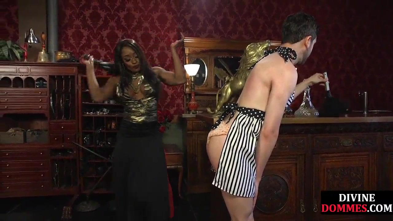 Black Domina Whipping And Pegging Pathetic Sub