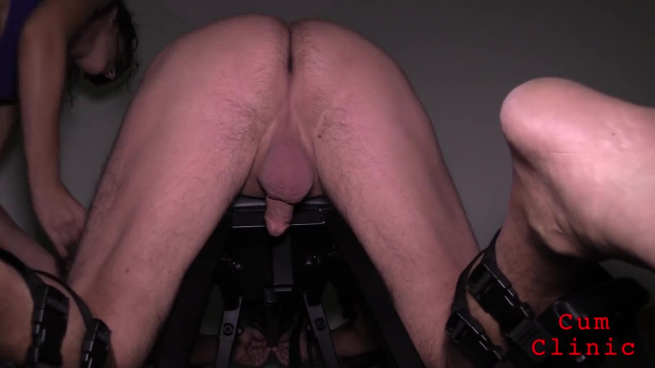 Handjob and milking for restrained male slave