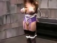 Breast Bound and gagged sub girl