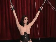 Nipple torture in restraints