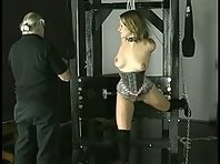 Big Ball gag, suspension and tit torture