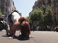 Beautiful Spanish redhead tied up, stripped bare, and fucked on the streets